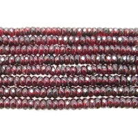 Garnet 6mm faceted rondell wine red