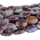 Red Lightning Agate 10 x 14mm flat oval red in bluish white matrix