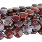 Red Lightning Agate 12mm coin red in bluish white matrix