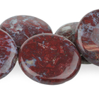 Red Lightning Agate 30mm coin red in bluish white matrix