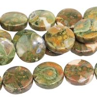 Image Rhyolite 12mm coin Muted greens.