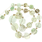 green and khaki 7 to 17mm roman glass coin beads