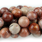 Red Porcelain Jasper 10mm round reds and creams