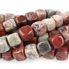 Red Porcelain Jasper 7mm cube reds and creams
