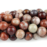 Red Porcelain Jasper 8mm round reds and creams