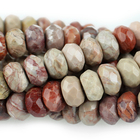 Red Porcelain Jasper 8mm faceted rondell reds and creams
