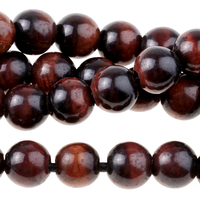 Image Large hole Red Tiger Eye 8mm round dark red