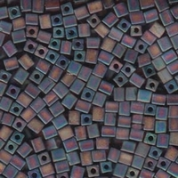 Miyuki cube 4mm dark amber transparent iridescent matte