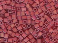 Miyuki cube 4mm red ab transparent iridescent matte