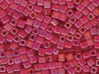Miyuki cube 4mm ruby ab transparent iridescent matte
