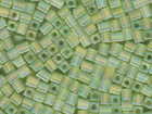 Miyuki cube 4mm lime ab transparent iridescent matte
