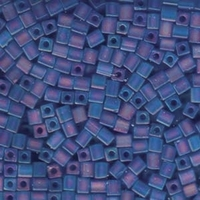 Image Miyuki cube 4mm sapphire transparent iridescent matte
