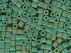 Miyuki cube 4mm green ab opaque iridescent matte