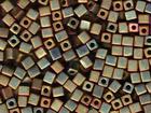 Miyuki cube 4mm khaki iris metallic iridescent matte