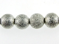 Image Metal Beads 6mm round stardust base metal silver plate