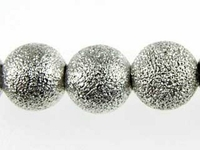 Metal Beads 8mm round stardust base metal silver plate