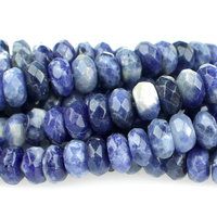 Sodalite 8mm faceted rondell blue