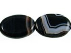 Sardonyx agate 10 x 14mm oval black with white banding