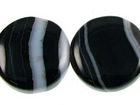 Sardonyx agate 12mm coin black with white banding
