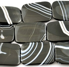 Sardonyx agate 30 x 40mm rectangle black with white banding