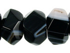Sardonyx agate 7 x 12mm faceted nugget black with white banding