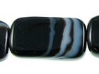 Sardonyx agate 8 x 14mm rectangle black with white banding