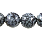 Snowflake Obsidian 10mm round black & grey