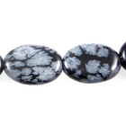 Snowflake Obsidian 10 x14mm flat oval black & grey