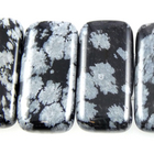 Snowflake Obsidian 10 x 20mm double drill rectangle black & grey