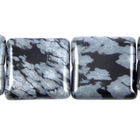 Snowflake Obsidian 12mm square black & grey