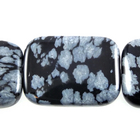 Snowflake Obsidian 13 x 18mm rectangle black & grey