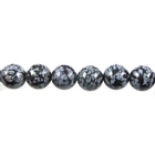 Image Snowflake Obsidian 4mm round gray and black