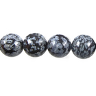Image Snowflake Obsidian 6mm round gray and black