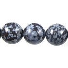 Image Snowflake Obsidian 8mm round gray and black