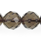 Smoky Quartz 12mm faceted round smoky brown