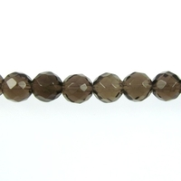 Smoky Quartz 6mm faceted round smoky brown