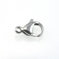 stainless steel 9 x 13mm lobster claw clasp silver