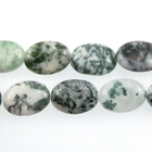 Tree Agate 10 x 14mm oval white with mottled green