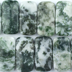 Tree Agate 10 x 20mm double drill rectangle white with mottled green