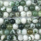 Tree Agate 4mm round white with mottled green