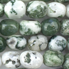 Tree Agate 8 x 10mm tumbled nugget white with mottled green