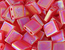 Seed Beads Miyuki tila 5x5x1.9 mm red orange ab transparent iridescent matte