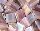 Image Seed Beads Miyuki tila 5x5x1.9 mm smoky amethyst ab transparent iridescent matte