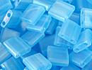 Image Seed Beads Miyuki tila 5x5x1.9 mm aqua ab transparent iridescent matte
