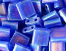 Image Seed Beads Miyuki tila 5x5x1.9 mm cobalt ab transparent iridescent matte