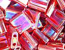 Image Seed Beads Miyuki tila 5x5x1.9 mm red ab transparent iridescent