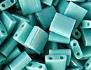 Image Seed Beads Miyuki tila 5x5x1.9 mm turquoise green ab opaque iridescent matte