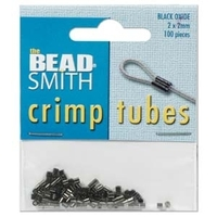 base metal 2 x 2mm crimp tube crimp bead black oxide (gunmetal)