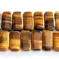 Tiger Eye 10 x 20mm  double drill rectangle rich golden brown