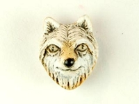 Clay Beads 12 x 10mm wolf face clay